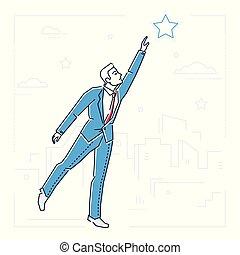 styl, gwiazda, osiąganie, -, odizolowany, ilustracja, projektować, biznesmen, kreska, poza