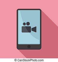 styl, ikona, płaski, nagranie, video, fason