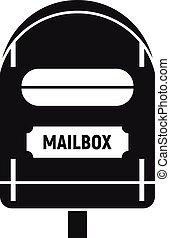styl, ikona, prosty, skrzynka pocztowa, pocztowy
