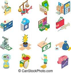 styl, ikony, komplet, pieniądze, medyczny, isometric
