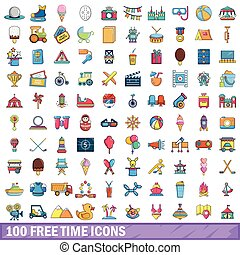 styl, ikony, komplet, wolny czas, 100, rysunek