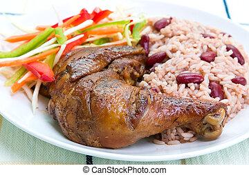 styl, karaibski, szarpnięcie, -, kurczak, ryż