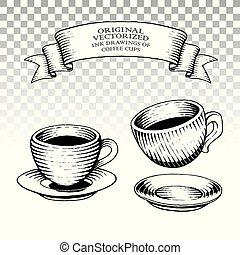 styl, kawa, scratchboard, rysunki, atrament, filiżanki