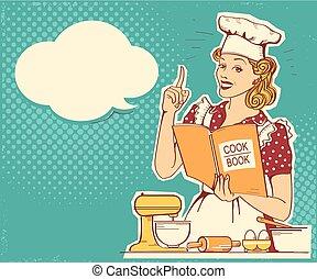 styl, kobieta dzierżawa, room., rocznik wina, gotowanie, młody kuchmistrz, wektor, retro, tło, kok, odzież, książka, kuchnia