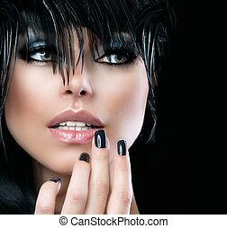 styl, kobieta, fason, girl., sztuka, moda, portret, piękny
