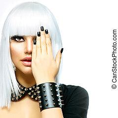 styl, kobieta, fason, piękno, girl., odizolowany, punk, biały