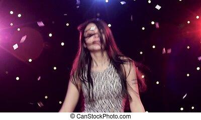 styl, kobieta taniec, przód, młody, disco zapala, confetti, blask