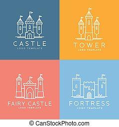 styl, komplet, abstrakcyjny, wektor, szablon, logo, kreska, zamek