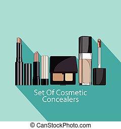 styl, komplet, flat., kosmetyczny, concealers