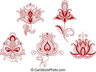 styl, komplet, indianin, abstrakcyjny, pers, motywy, kwiaty