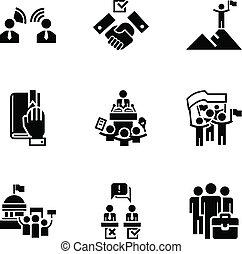 styl, komplet, polityczny, prosty, wybór, ikona