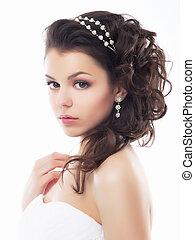 styl, makijaż, fiancee., -, młody, szlachecki, ślub, uczesanie