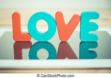 styl, miłość, tabliczka, drewniany, rocznik wina, stać, słowo