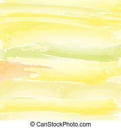 styl, nachylenie, abstrakcyjny, żółty, akwarela, zielone tło