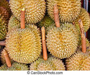 styl, owoce, owoc, targ, durian, thai, tajlandia