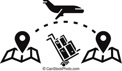styl, paczka, prosty, doręczenie, ikona, samolot