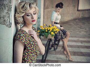 styl, piękno, fotografia, młody, dwa, retro
