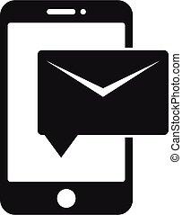 styl, poczta, głoska ikona, litera, prosty