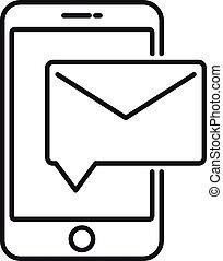 styl, poczta, głoska ikona, litera, szkic