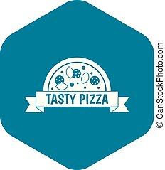 styl, prosty, znak, smakowity, ikona, pizza