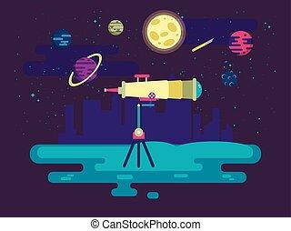 styl, przestrzeń, teleskop, ilustracja, tło, zewnętrzny, płaski