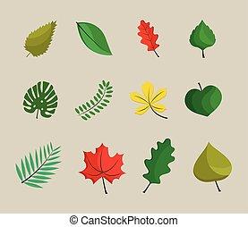 styl, rośliny, liście, płaski, ikony, sześć, plik