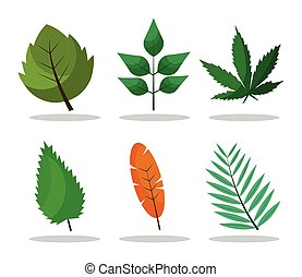 styl, rośliny, liście, płaski, ikony, sześć, tytuł, plik