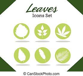 styl, rośliny, sylwetka, liście, ikony, sześć, tytuł, plik