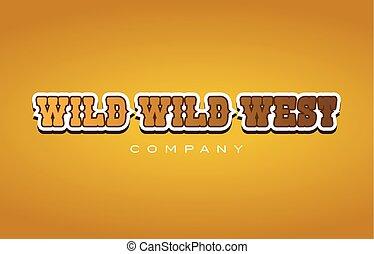 styl, słowo, zachód, towarzystwo, projektować, western, tekst, dziki, logo, ikona