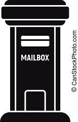styl, skrzynka pocztowa, prosty, kontener, ikona