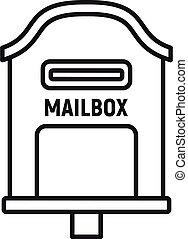 styl, skrzynka pocztowa, szkic, ikona, doręczenie