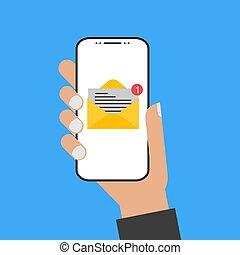 styl, smartphone, ekran, nowoczesny, ręka, e-poczta, projektować, dzierżawa