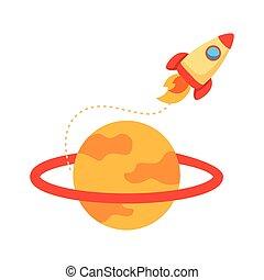styl, statek kosmiczny, rakieta, saturn, wyrzutnia, płaski, ikona