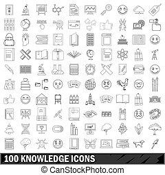 styl, szkic, ikony, komplet, 100, wiedza
