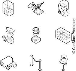 styl, szkic, ikony, komplet, muzeum, chodzenie