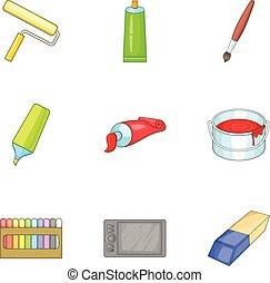 styl, sztuka, ikony, komplet, zaopatruje, rysunek