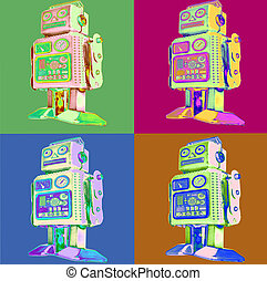 styl, sztuka, retro, hukiem, robot