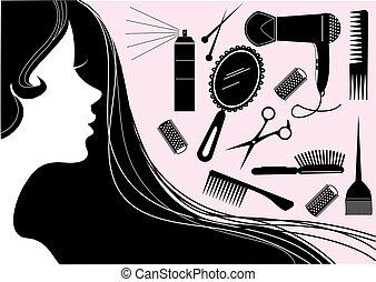 styl, włosy, salon piękna, wektor, element.