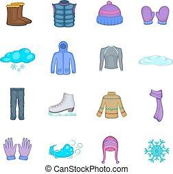 styl, zima, ikony, komplet, rysunek, odzież