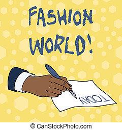 style, fason, handlowy, fotografia, pokaz, pisanie, nuta, appearance., showcasing, świat, odzież, zwija, world.