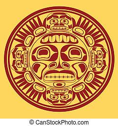 stylization, słońce, sztuka, wektor, północno-zachodni, symbol