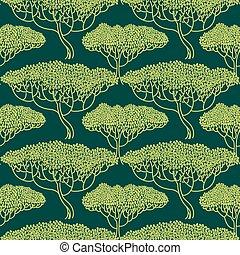 stylizowany, abstrakcyjny, drzewo, illustration.