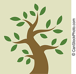 stylizowany, drzewo, barwny, ikona