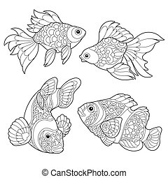 stylizowany, fish, gatunek, zentangle
