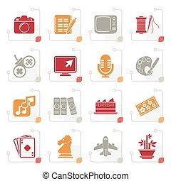 stylizowany, hobby, wolny czas, ikony