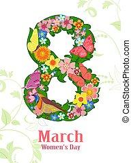 stylizowany, liście, formułować, wi, motyle, kwiaty, osiem