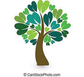 stylizowany, logo, drzewo, legitymacja