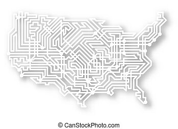 stylizowany, mapa, usa
