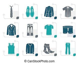 stylizowany, odzież, fason, człowiek, ikony