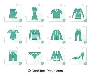 stylizowany, odzież, ikony